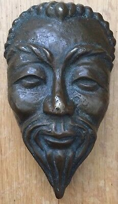 """Antique Chinese Original Solid Bronze """"old Man Head Mask"""" Figure"""