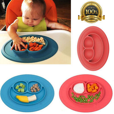 NEW Silicone Happy Mat Table Baby Kids Suction Food Tray Placemat Plate Bowl UK