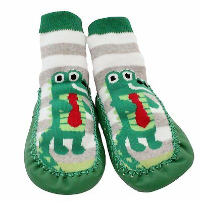 Baby Toddlers Kids Indoor Slipper Shoe Socks Moccasins NON SKID GREEN GREY Age