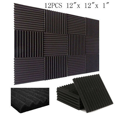 12 Pack- Acoustic Panels foam Engineering sponge Wedges Soundproofing Panels