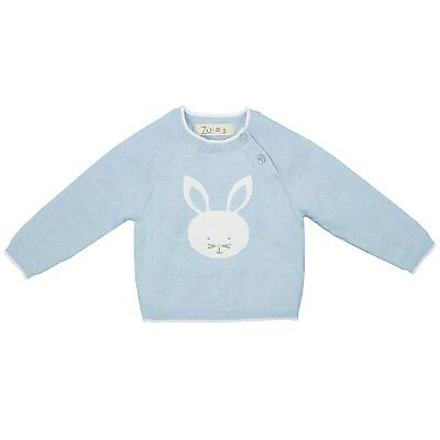 Zubels 100% Hand-Knit Bunny Sweater In Blue All Natural FIBERS
