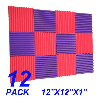 12 Pack Acoustic Panels foam  sponge Wedges Soundproofing Panels Red / purple