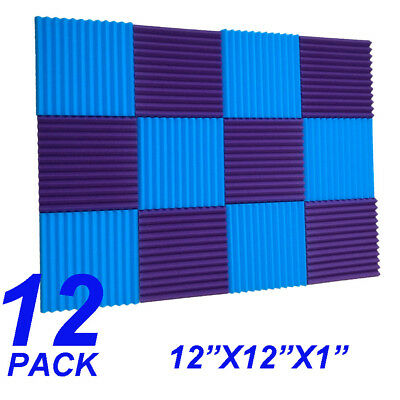 12 Pack Acoustic Panels foam  sponge Wedges Soundproofing Panels blue / purple