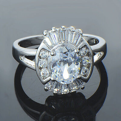Fashion vintage Womens White gold filled crystal eternity wedding Ring size 7 8