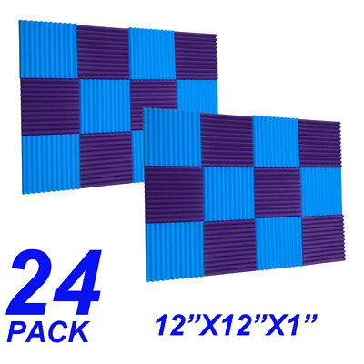 24 Pack Acoustic Panels foam  sponge Wedges Soundproofing Panels blue / purple