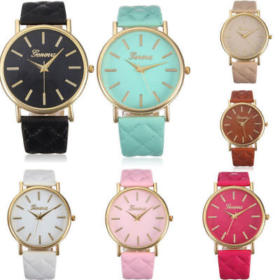 Fashion Women Geneva Roman Watch Lady Leather Band Analog Quartz Wrist Watches