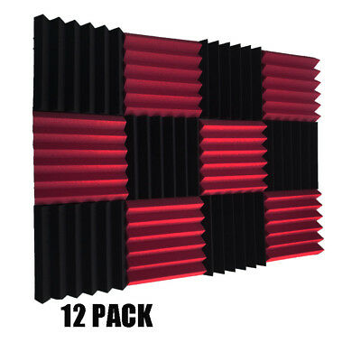 "2""x12x12(12 Pack)Burgundy/purple Acoustic Wedge Soundproofing Studio Foam Tiles"