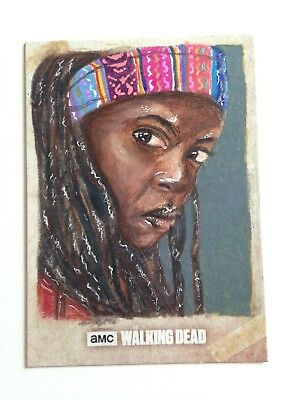 Walking Dead Road to Alexandria Michonne artist proof official topps sketch card
