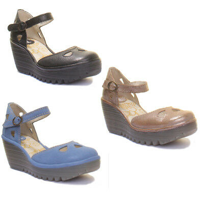 45b4d0d29d78 FLY LONDON YUNA Wedge Leather Ankle Strap Shoe Size UK 3 - 8 ...