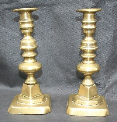Pair of Antique Victorian Brass Candlesticks  Square Base. Lead weighted.