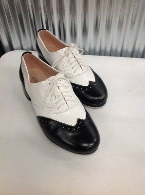 Women's Bloch Shockwave #1 Black Leather Lace Up Tap Shoes Size 7-1/2 Charleston
