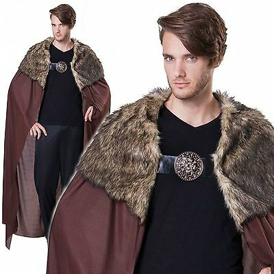 Deluxe Adults Brown Medieval Cloak Game of Thrones Viking Cape Fur Fancy Dress