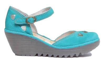24b31500298a FLY LONDON YUNA Turquoise Green Leather Nubuck wedge Sandal UK 6 39 ...