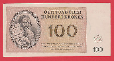 Germany Camp Theresienstadt Ghetto 100 Kronen 1943 Jewish RARE LAGER NOTE UNC !