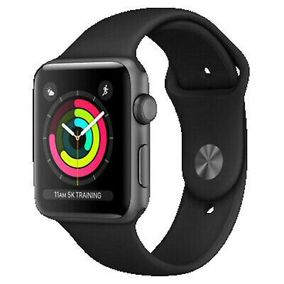 APPLE Watch Series 3 (GPS) 42 mm, Smartwatch, Hochleistungs-Fluorelastomer, 140-