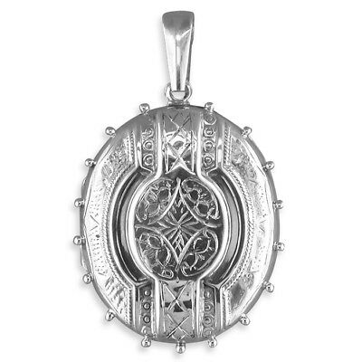 Sterling Silver Locket Large fancy Victorian oval New