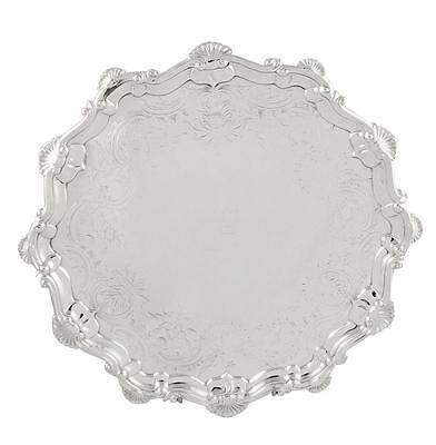 "Antique Georgian Sterling Silver 12"" Tray / Salver - 1761"