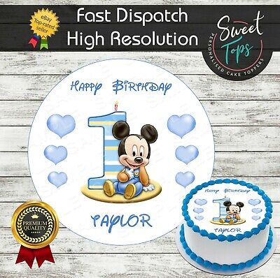 1St Birthday Boy Round Edible Cake Topper Decoration Personalised