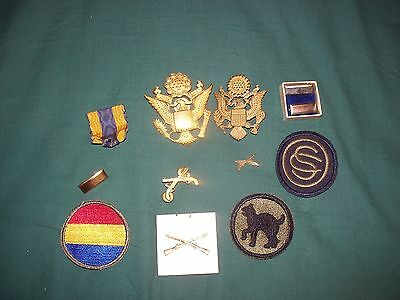 Lot Of Military  Items -  Large Eagle Pin, Patches,  Bars, More  Ww2