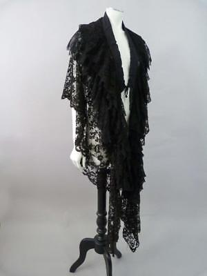 Antique Victorian Chantilly and floral lace shawl / cape with long tails