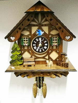 Wall Clock Cuckoo 22CM Wooden Quartz Battery Forest Black Made In Germany