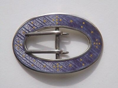 Antique Victorian Sterling Silver & Guilloche Enamel Buckle c.1890 - American?