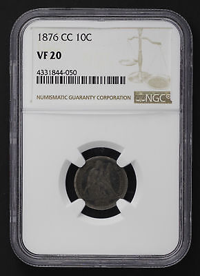 1876-CC Seated Liberty Silver Dime NGC VF-20 -149749