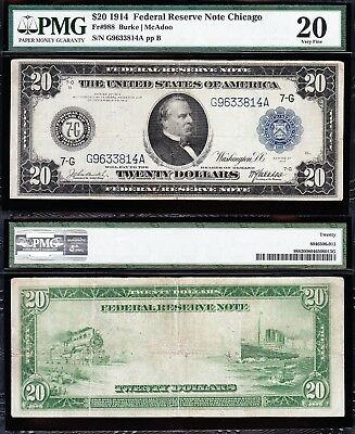 VERY NICE Bold Mid-Grade VF 1914 $20 *CHICAGO* FRN Note! PMG 20! G9633814A