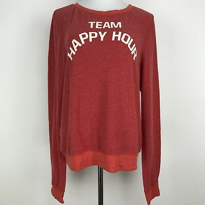 Wildfox Womens Medium Red Team Happy Hour Pullover Sweatshirt NWT