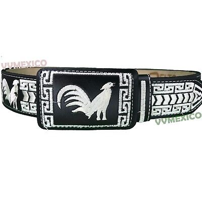 MENS MEXICAN cockfighting rooster EMBROIDERED PITEADO GRABADO BELT SIZES 32-44