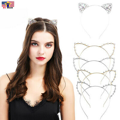 Cat Ears Crown Tiara Headband Hair Rhinestone Princess Hollow Hairband Bezel