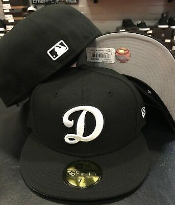 New Era Cap 59FIFTY Los Angeles Dodgers D Black White MLB Hat Fitted LA 5950