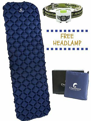 Sleeping Pad by Chameleon: Durable, Ultralight, Comfortable Easy Inflatable Mat