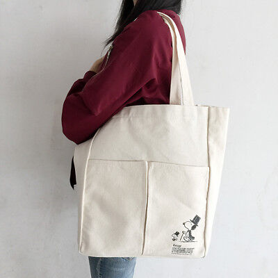Snoopy Peanuts Shoulder Bag Eco Woodstock Gentleman Shopping Grocery Canvas