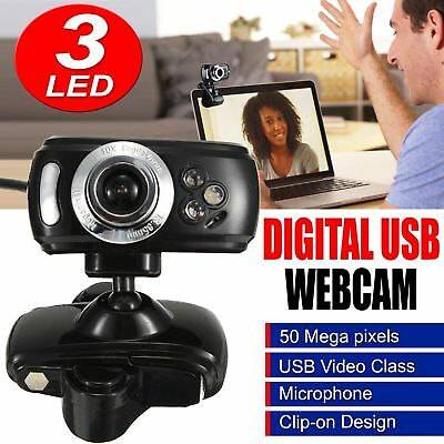 USB 50 Megapixel HD Webcam Web Cam Camera With Microphone Mic 3 LED PC Laptop