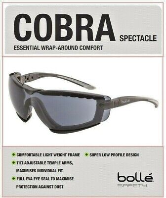 BOLLE Cobra Smoke Safety Glasses, Anti Fog, 100%UV Protection, AWESOME FREE POST