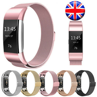 Magnetic Milanese Stainless Steel Watch Band Strap For Fitbit Charge 2 UK Stock