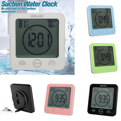 Waterproof Shower Clock Wall Suction Digital Alarm Timer Temperature Humidity UK