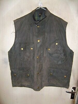 Rare Vintage Shabby Chic Barbour Beacon Waxed Gilet Jacket Size C50 127Cm