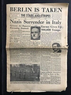 Vintage Newspaper The Stars & Stripes Paris Edition Berlin Is Taken Cover May 3