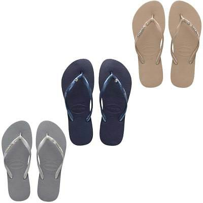 a6f93edab Havaianas Slim Crystal Glamour SW Womens Rubber Flip Flop Sandals UK Size 3  - 8
