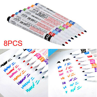 8 Color Set Whiteboard Marker Dry-Erase Bullet Tip Pens Easy Wipe Durable HOT