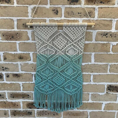 Handmade Cotton Wood Bohemian Boho Cream Teal Blue Macrame Wall Art Hanging