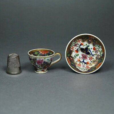 Antique Georgian Miniature Spode Doll Size Toy Cup and Saucer Regency Imari A/F