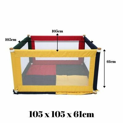 Fabric Baby Kids Toddler Safety Playpen Square - Multi-Coloured