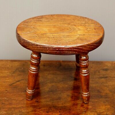Antique English Country Stool Circa 1820 For Child or Doll Folk Art