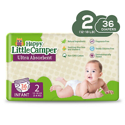 Happy Little Camper Ultra Absorbent Premium Natural Nappies Size 2, 36 Count
