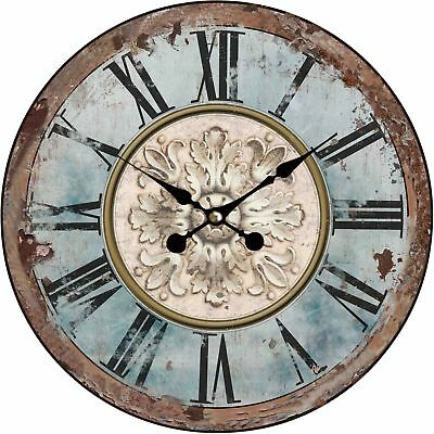 Wall Clock Wood Kitchen Timer Dial Retro Shabby Chic Design Quartz Movement