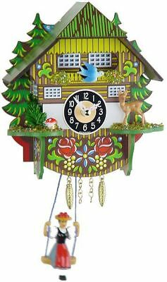 Engstler 0144 Sq Miniature Black Forest Clock with Battery-Powered Quartzwerk