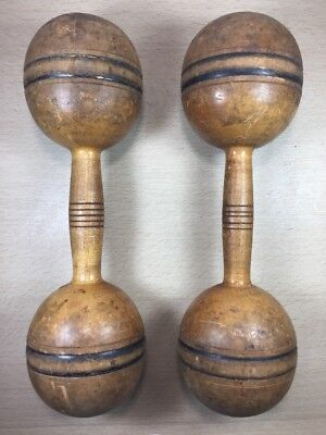 set of Antique Spalding A. W. Wooden Exercise Equipment Dumbbell/Barbell 1 lb